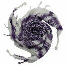 Kufiya - white - purple - Shemagh - Arafat scarf