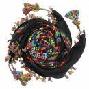 Kufiya premium - black - rainbow stripes - fringes and...