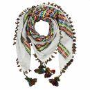 Kufiya premium - white - rainbow stripes - fringes and...
