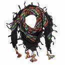 Kufiya plus black - rainbow stripes - fringes and bobbles...