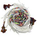 Kufiya plus white - rainbow stripes - fringes and bobbles...
