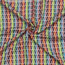 Kufiya plus white - rainbow stripes - fringes and bobbles colorful - Shemagh - Arafat scarf