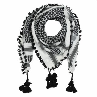Kufiya Desert premium - white - black - fringes and bobbles black - Shemagh - Arafat scarf