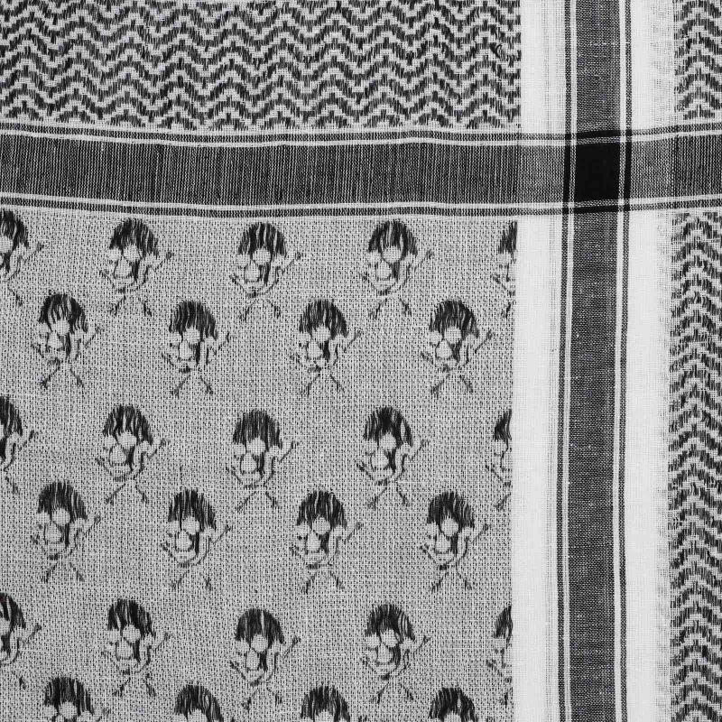 Palituch weiß-schwarz Kufiya PLO Tuch Totenköpfe mit Knochen groß