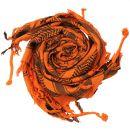 Kufiya - Skulls with bones big orange - black - Shemagh -...