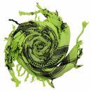 Kufiya - Skulls with bones big green-light green - black...