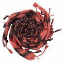 Kufiya - red-terracotta - black 02 - Shemagh - Arafat scarf