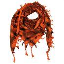 Kufiya - Skulls chequered orange - black - Shemagh -...